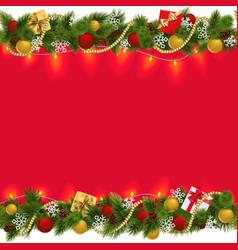 Christmas border with garland 2 vector