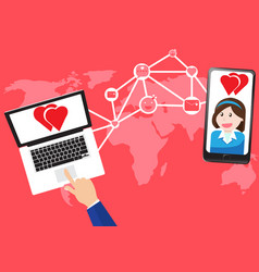 concept communicate about love in world map vector image