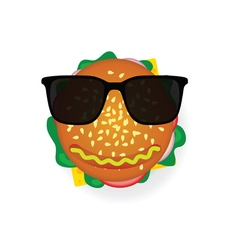 hamburger with sunglasses vector image vector image