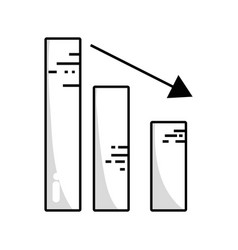 Line statistic bar with arrow down to business vector