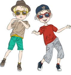 Two hipster guys dancing vector