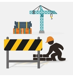 worker construction brick wall barrier crane vector image