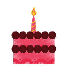 birthday cake sweet candle decoration vector image