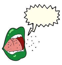 cartoon sneezing mouth with speech bubble vector image