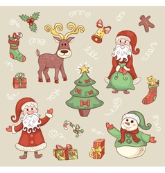 Cute christmas set vector image