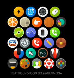 flat round icon set 9-multimedia vector image vector image