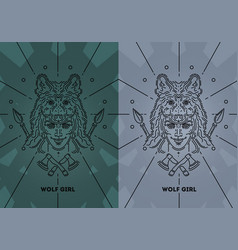 girl with wolf on your head vector image