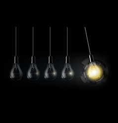 glowing light bulb technology perpetual motion vector image vector image
