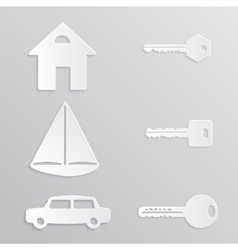 House Yacht Car Key Paper-cut vector image