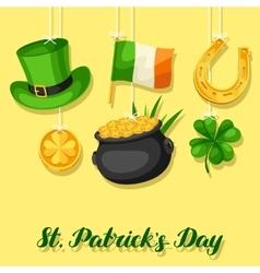 Saint Patricks Day greeting card Flag Ireland vector image