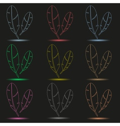 various color outline feathers symbols with shadow vector image vector image