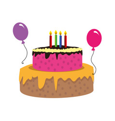 color silhouette with birthday cake and candles vector image vector image