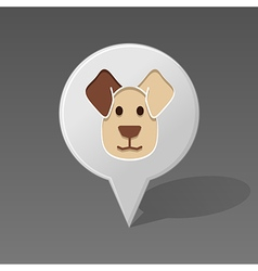 Dog pin map icon Animal head vector image vector image