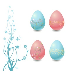 easter eggs with floral elements vector image