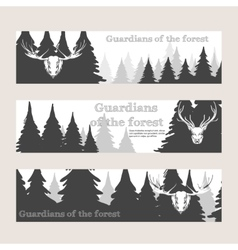 Horizontal banners with forest and deer vector image vector image