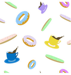 seamless pattern of cup of coffee eclair and vector image vector image