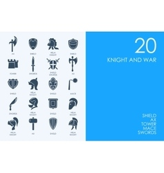 Set of BLUE HAMSTER Library knight and war icons vector image