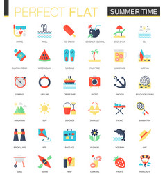 set of flat summer time icons vector image