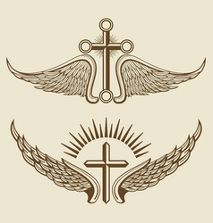 vintage cross and wings elements vector image vector image