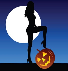woman with halloween pumpkin vector image