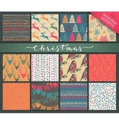Collection of twelve hand drawn winter holidays vector image vector image