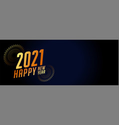 2021 new year banner with fireworks and text space vector