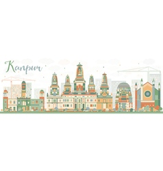 Abstract Kanpur Skyline with Color Buildings vector