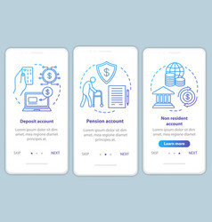 Account types onboarding mobile app page screen vector