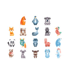 animals in a geometric flat style with the use vector image