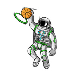 astronaut spaceman which play basketball vector image