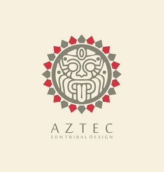 aztec sun tribal logo design vector image