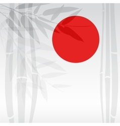 Bamboo trees and red sun on white background vector