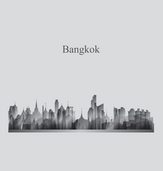 bangkok city skyline silhouette in grayscale vector image