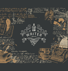 banner on a writers theme with place for text and vector image