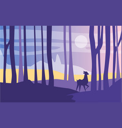 Beautiful scene of nature peaceful landscape with vector
