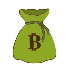 Bitcoin digital money symbol in the green bag vector