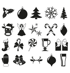 Black and white 20 christmas elements vector