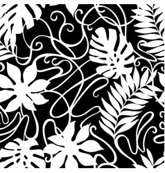 black and white tropical florals vintage ornament vector image