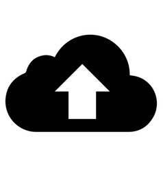 Black cloud with arrow icon on white vector