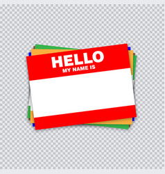 Blank template tag my name is different color vector