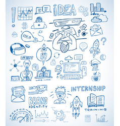business doodles sketch set infographics vector image
