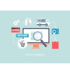 Buying online and e-commerce vector