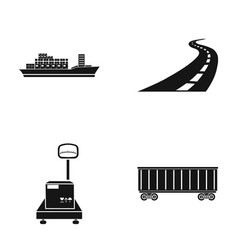 Cargo ship railway car scales with box road vector
