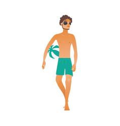 cartoon beach man sunglasses ball ice cream vector image