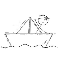 Cartoon of businessman sailing paper ship or boat vector