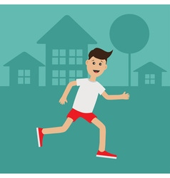 Cartoon running guy Night summer time House tree vector