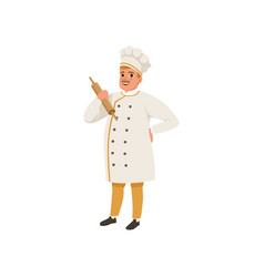 Cheerful baker character in uniform holding vector