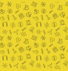 chemistry line seamless pattern with yellow vector image