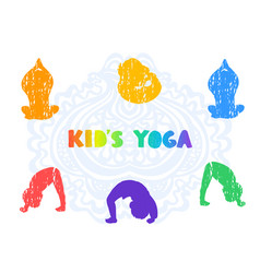 children doing yoga different vector image
