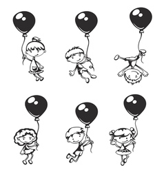 Children with balloons vector